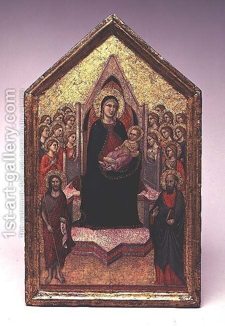 The Madonna and Child with St. John the Baptist, St.Paul and Angels by Jacopo Del Casentino - Reproduction Oil Painting
