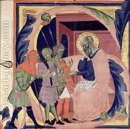 Historiated initial 'S' depicting Job receiving messengers with bad news by Jacopo Del Casentino - Reproduction Oil Painting