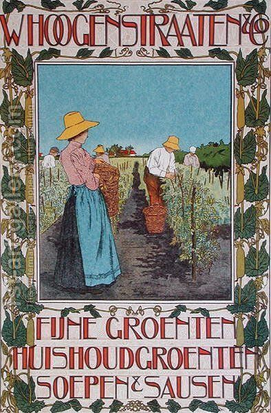 Harvesting peas, poster advertising 'Whoogenstraaten & Co., purveyors of fine vegetable, soups and sauces' c.1898-90 by Johann Georg van Caspel - Reproduction Oil Painting