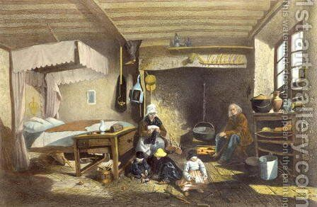 Interior of a House in Royat by Armand Theophile Cassagne - Reproduction Oil Painting
