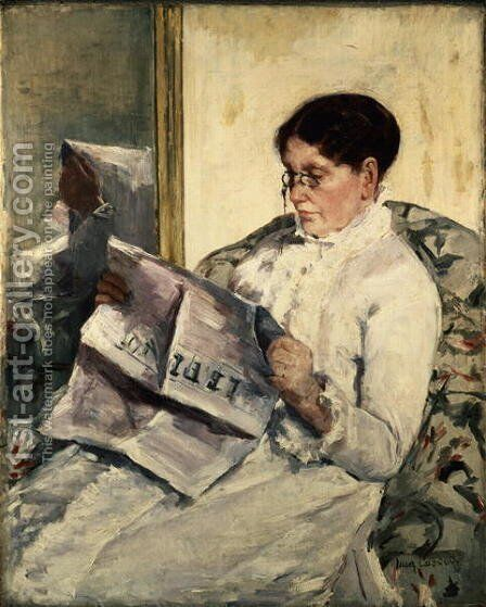 Reading Le Figaro, 1878 by Mary Cassatt - Reproduction Oil Painting
