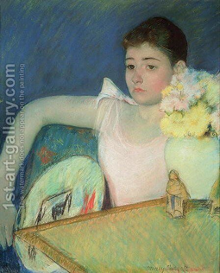 Girl in Pink with a Fan, c.1889 by Mary Cassatt - Reproduction Oil Painting