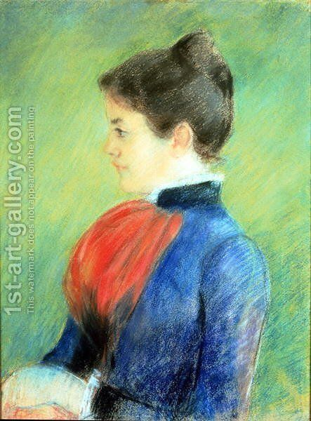 Profile of a Woman Wearing a Jabot by Mary Cassatt - Reproduction Oil Painting