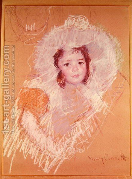 Bust of a Young Girl or Margot Lux with a Large Hat by Mary Cassatt - Reproduction Oil Painting