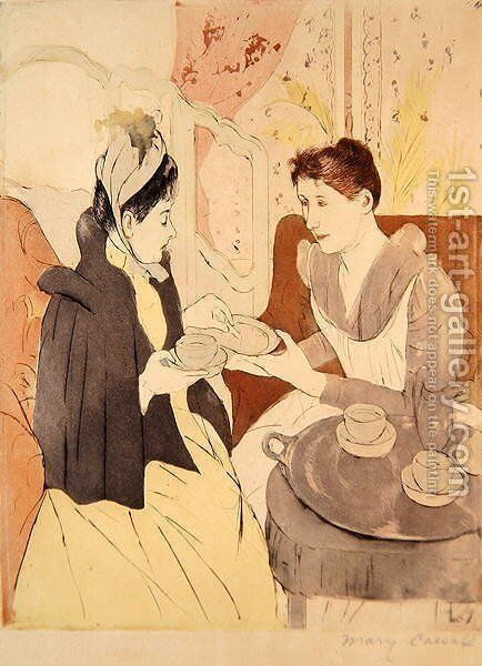Afternoon Tea Party by Mary Cassatt - Reproduction Oil Painting