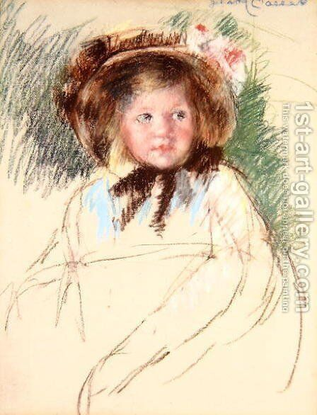 Sara in dark Bonnet Tied under her Chin, c.1901 by Mary Cassatt - Reproduction Oil Painting