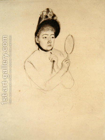 Femme au Mirror by Mary Cassatt - Reproduction Oil Painting
