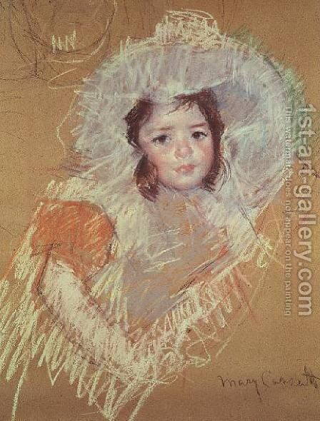 Head of a young girl 3 by Mary Cassatt - Reproduction Oil Painting