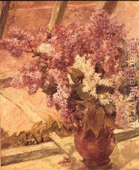 Vase of Lilac, c.1889 by Mary Cassatt - Reproduction Oil Painting