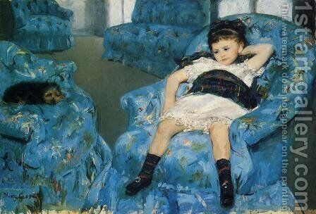 Little Girl in a Blue Armchair, 1878 by Mary Cassatt - Reproduction Oil Painting
