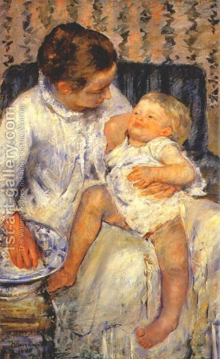 Mother about to Wash her Sleepy Child, 1880 by Mary Cassatt - Reproduction Oil Painting