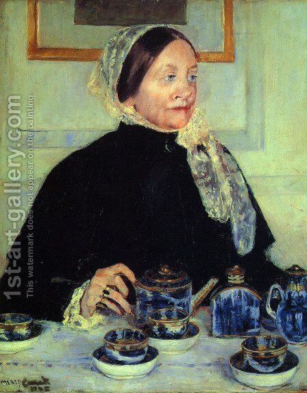 Lady at the Tea Table, 1885 by Mary Cassatt - Reproduction Oil Painting