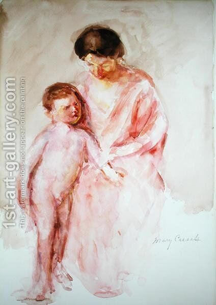 Woman with a Nude Boy at her Side by Mary Cassatt - Reproduction Oil Painting
