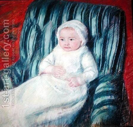 Child on a Sofa, Miss Lucie Berard by Mary Cassatt - Reproduction Oil Painting
