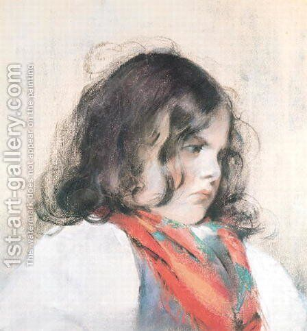 Head of a Child by Mary Cassatt - Reproduction Oil Painting