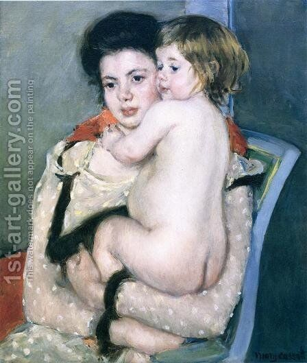 Reine Lefebvre Holding a Nude Baby, 1902 by Mary Cassatt - Reproduction Oil Painting