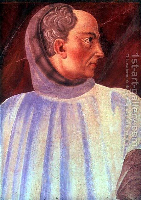 Niccolo Acciaiuoli (1310-65) detail of his bust, from the Villa Carducci series of famous men and women, c.1450 by Andrea Del Castagno - Reproduction Oil Painting