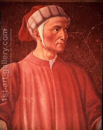 Dante Alighieri (1265-1321) detail of his bust, from the Villa Carducci series of famous men and women, c.1450 by Andrea Del Castagno - Reproduction Oil Painting
