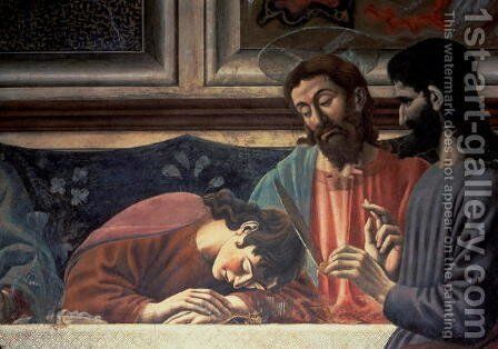 The Last Supper (detail of Judas, Christ and St. John) 1447 by Andrea Del Castagno - Reproduction Oil Painting