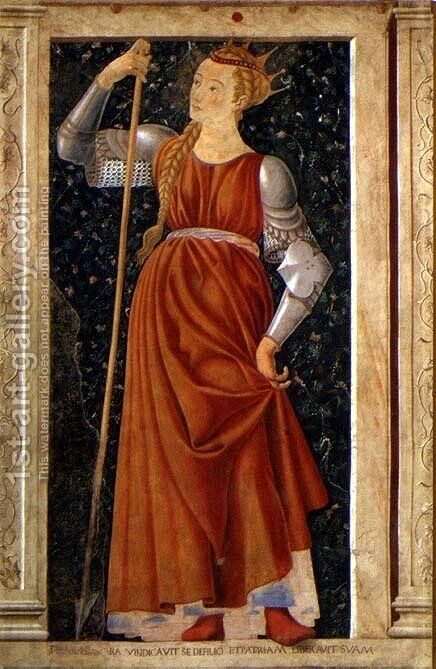 Queen Tomyris, from the Villa Carducci series of famous men and women, c.1450 by Andrea Del Castagno - Reproduction Oil Painting