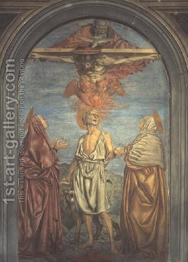 Holy Trinity with St. Jerome by Andrea Del Castagno - Reproduction Oil Painting
