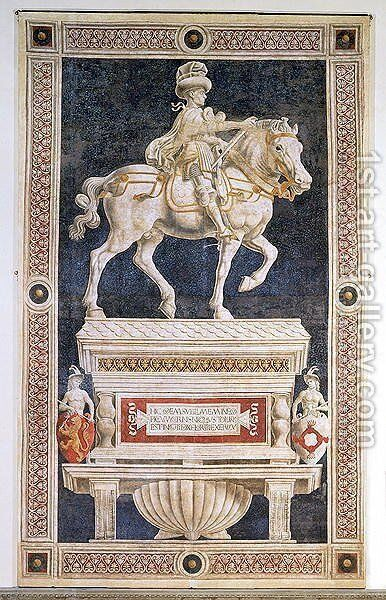 Equestrian monument of Niccolo Marucci da Tolentino (d.1435), 1456 by Andrea Del Castagno - Reproduction Oil Painting