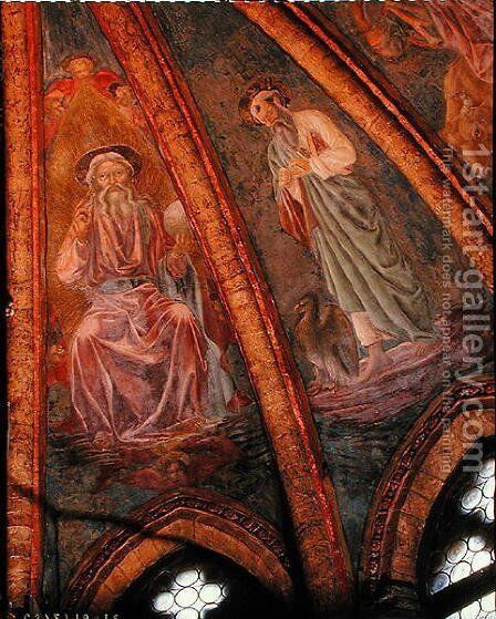 God the Father and St John the Evangelist from the vault of the apse in the Tarasius, 1442 by Andrea Del Castagno - Reproduction Oil Painting