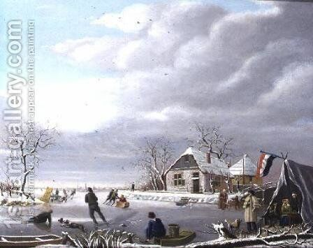 Skaters in a Winter Landscape by Jan Gerardus Casteelen - Reproduction Oil Painting