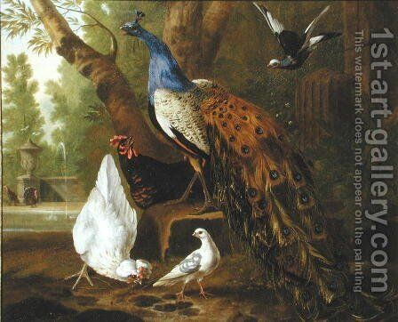 An Assembly of Birds in a Classical Park, 1719 2 by Pieter Casteels - Reproduction Oil Painting