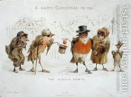 The Kindly Robin, Victorian Christmas card by Castell Brothers - Reproduction Oil Painting