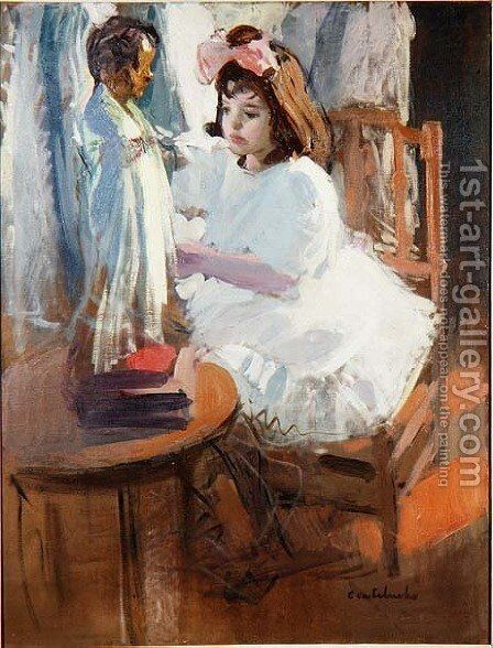 Young Girl with a Doll by Claudio Castelucho - Reproduction Oil Painting