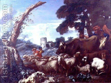 Farmhands with cattle and sheep by Giovanni Francesco Castiglione - Reproduction Oil Painting