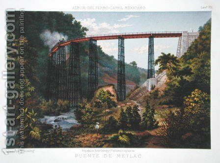 Railway Bridge at Metlac, from 'Album of the Mexican Railway' by Casimior Castro - Reproduction Oil Painting