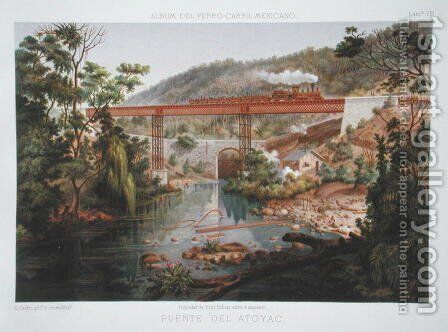 Railway Bridge at Atoyac, from 'Album of the Mexican Railway' by Casimior Castro - Reproduction Oil Painting