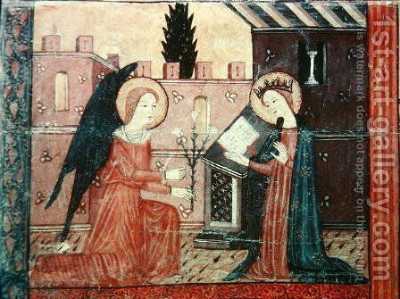 The Annunciation, from the altar frontal of 'The Virgin with Roses', c.1350 by Anonymous Artist - Reproduction Oil Painting