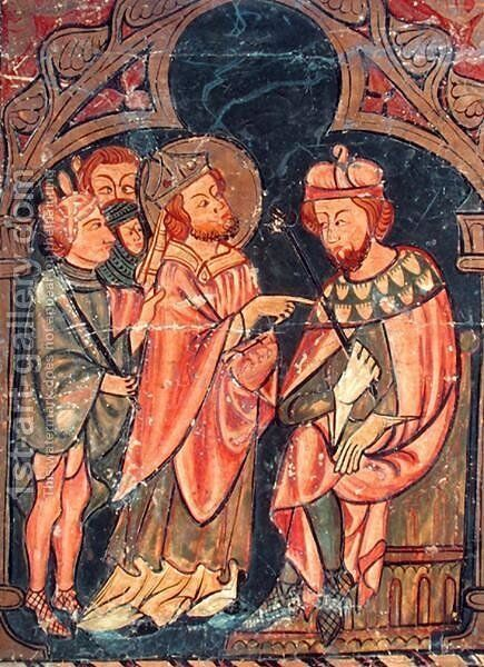 St. Cyprian (c.200-258) Bishop of Carthage brought before Emperor Valerian (r.253-60) 1300-25 by Anonymous Artist - Reproduction Oil Painting