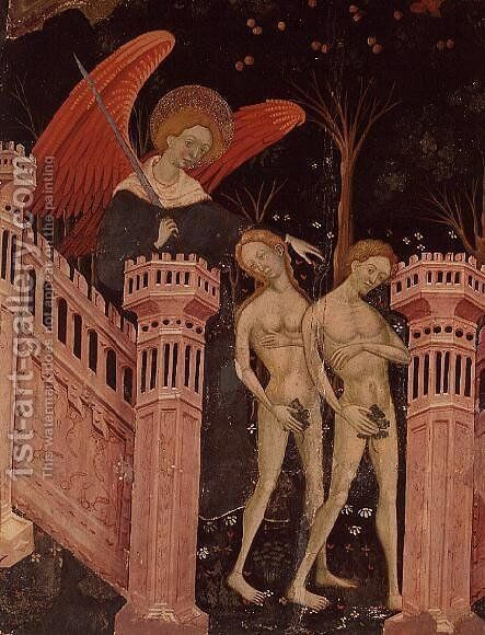 Adam and Eve banished from Paradise (14th century) by Anonymous Artist - Reproduction Oil Painting