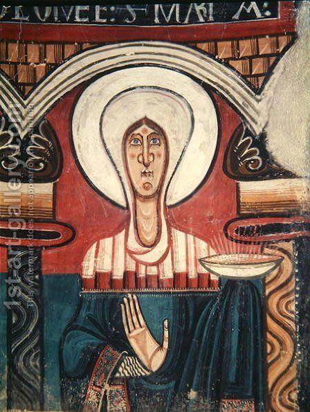 The Virgin Mary, from the Church of San Clemente de Tahull, Lerida by Anonymous Artist - Reproduction Oil Painting