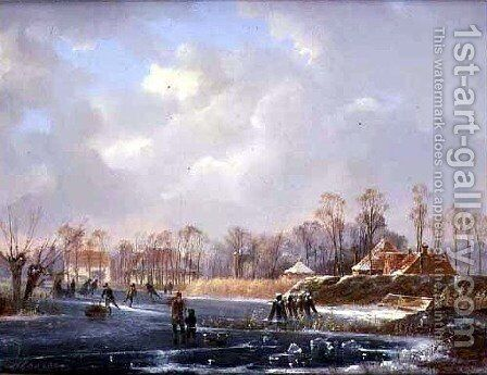 Landscape with Figures on a Frozen River by Hendrik Gerrit ten Cate - Reproduction Oil Painting