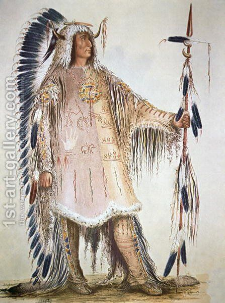 Mato-Tope, second chief of the Mandan people in 1833 by George Catlin - Reproduction Oil Painting