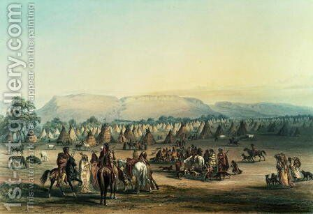 Camp of Piekann Indians by George Catlin - Reproduction Oil Painting
