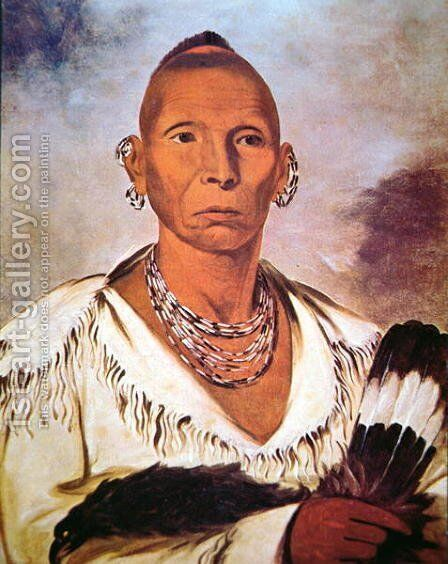 Portrait of Black Hawk, Indian Chief by George Catlin - Reproduction Oil Painting