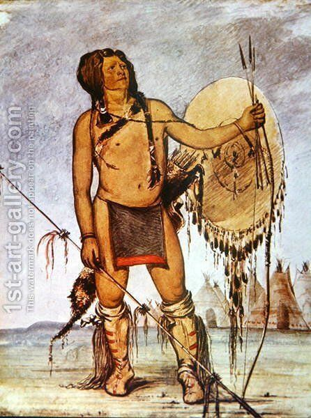 Comanche warrior with a shield, lance and bow and arrows, c.1835 by George Catlin - Reproduction Oil Painting