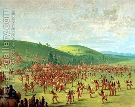 Indian Ball Game by George Catlin - Reproduction Oil Painting
