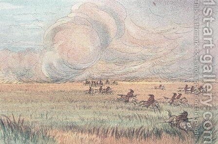 Missouri prairie fire by George Catlin - Reproduction Oil Painting
