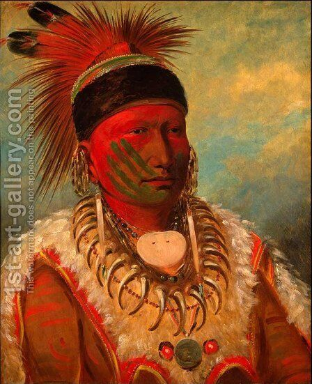 'White Cloud', Head Chief of the Iowas, 1844-45 by George Catlin - Reproduction Oil Painting