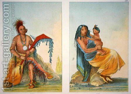 Head Chief Clermont and his wife and child, 1841 by George Catlin - Reproduction Oil Painting