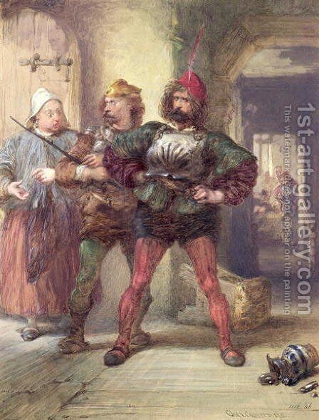 Mistress Quickly, Nym and Bardolph, from Shakespeare's Falstaff plays by Charles Cattermole - Reproduction Oil Painting