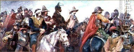 Cavalry escorting prisoners by Charles Cattermole - Reproduction Oil Painting