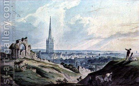 A View of Norwich, from Mouseshold Hill, near the Ruins of Kett's Castle by Charles, II Catton - Reproduction Oil Painting